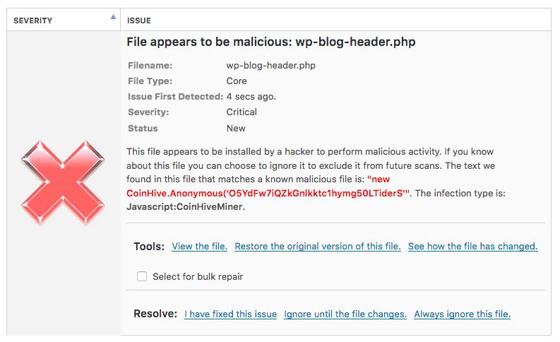 Exemple de rapport fourni par Wordfence lorsqu'il détecte un code de crypto-monnaie