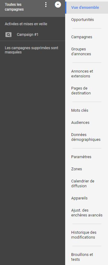 Nouveau menu Google AdWords